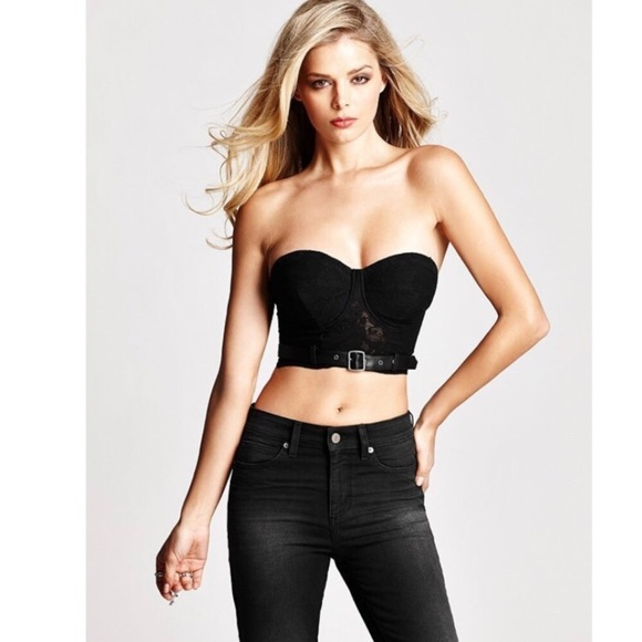 3a59ede66f354d Guess by Marciano lace leather belt crop bustier s